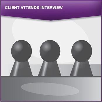Client attends interview